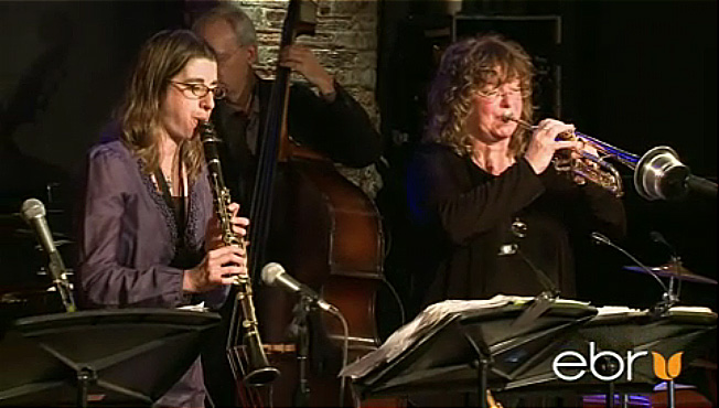 Metropolitan Klezmer at City Winery, picture features Deborah KArpel on clarinet and Pamela Fleming on trumpet